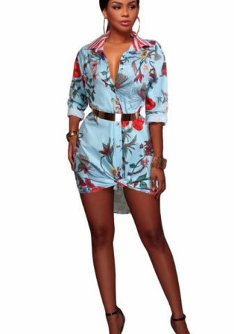 Casual Floral Print Blouse High Low Mini Shirt Dress SKU: #XF09125-1