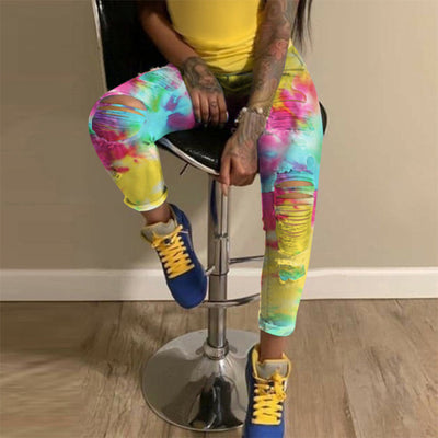 Women Fashion Colorful Jeans Long Pants SKU: #XF14674
