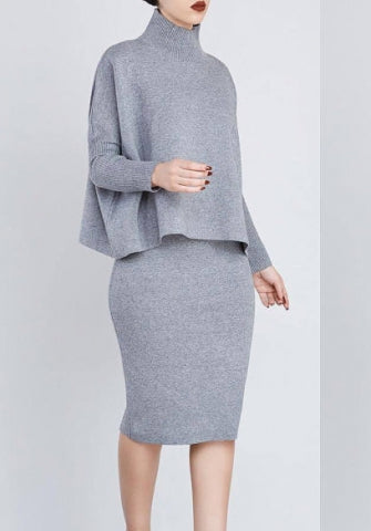 Womens OL Two Pieces Set Long Sleeve Bodycon Pencil Business Work Dress SKU: #XF20112-4