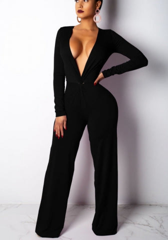 Women Fashion V Neck Solid Color Jumpsuit SKU: #XF202460-2