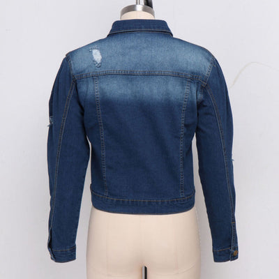 Women Fashion Front Button Jeans Jacket SKU: #XF20662-1