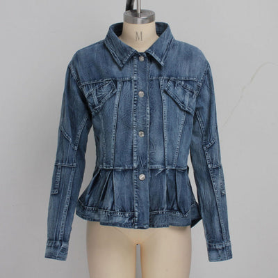 (Not Waist Tie) Women Fashion Jeans Front Button Bottom Ruffle Jacket Coat SKU: #XF20666-1