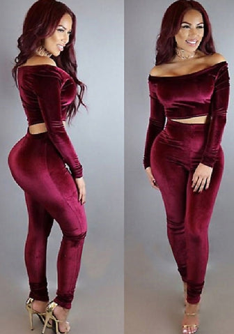 Bodycon 2 Piece Velvet Jumpsuit Long Sleeve Crop Top + Pants SKU: #XF21072-1