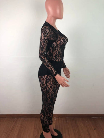 Womens Sexy Sheer Striped Lace Long Sleeve Jumpsuit SKU: #XF21442-1