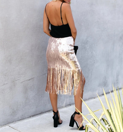 Women Fashion Sequins Bottom Tassel Midi Skirt SKU: #XF21652