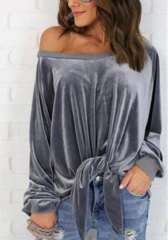 Women Velvet Long Sleeve Off Shoulder Front Tie Tops Shirt Blouse SKU: #XF48030