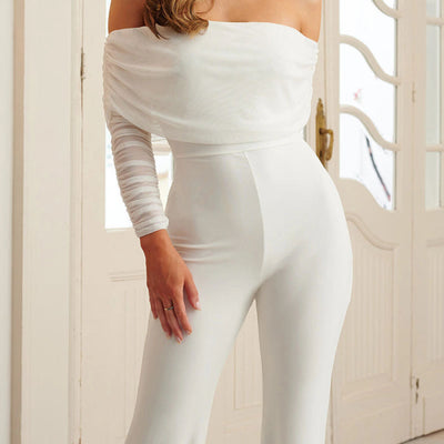 Women Fashion Off Shoulder Solid Color Jumpsuit SKU: #XF62426