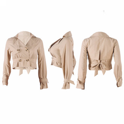 Women Casual Jacket Work Office Open Front Button Short Cardigan Blazer SKU: #XF82054-1