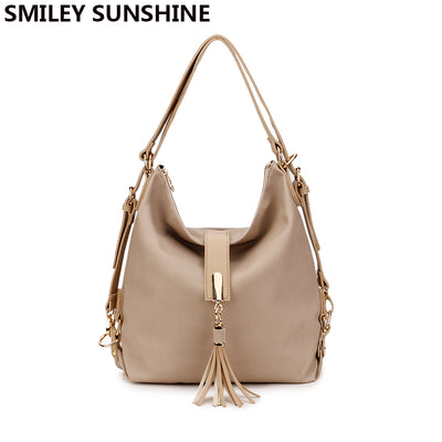 SMILEY SUNSHINE big shoulder vintage leather handbag tote top-handle bags