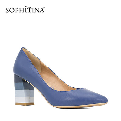 SOPHITINA Leather Pumps Square Heel Dark Sheepskin Pointed Toe Shoes