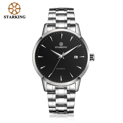 STARKING Automatic Watches Stainless Steel Wristwatch Leather Fashion 50M Waterproof