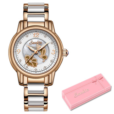 SUNKTA Rose Gold Quartz Watch Ladies Top Brand Luxury Female Watch