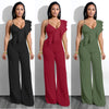 Sexy Deep V Neck Ruffle Jumpsuit Rompers Elegant Wide Leg Overalls  Long Coverall