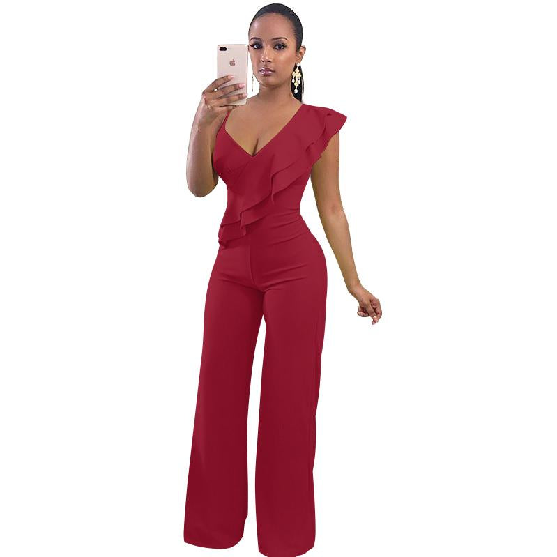 600798a1241 Sexy Deep V Neck Ruffle Jumpsuit Rompers Elegant Wide Leg Overalls Long  Coverall