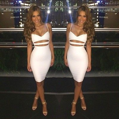 Sexy Summer Sleeveless Bodycon  Cotton White Black Midi Pencil Bandage Dresses