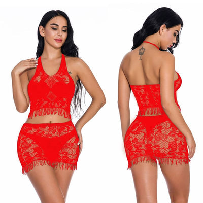 Sexy Erotic Lace Hollow-out Night Sleepwear See Through Underwear Night Gown Black lingerie plus size
