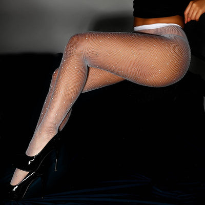 Sexy Glitter Small Mesh Thin Pantyhose Individuality Shiny Fishnet Tights Sell Well