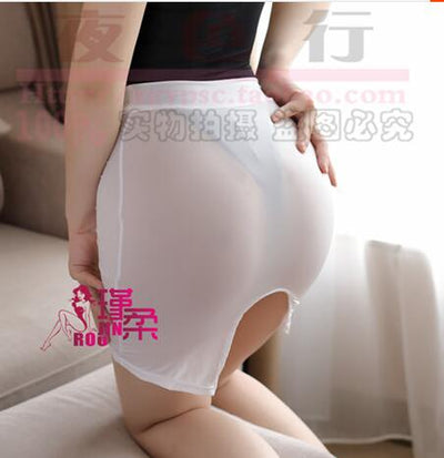 Sexy High Cut Tight Pencil Cute Skirt Ice Silk See Through Micro Mini Skirt