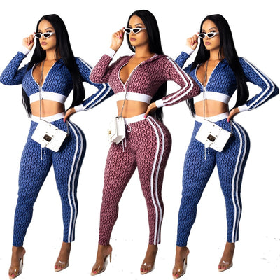 Sexy Letter Print Zipper Turn Down Collar Skinny Long Sleeve Crop Skinny Pants High Waist 2 Piece Set Tracksuit