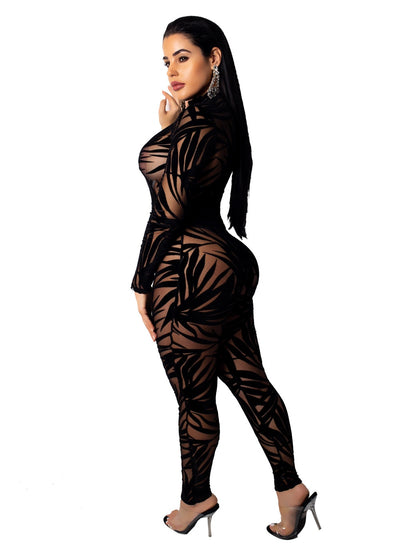 Sexy Night Party Club Black Lace Sheer Mesh Jumpsuit Bamboo Leaf O Neck Long Sleeve Bodycon Rompers