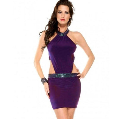 Sexy Purple Sequined Mini Little Short Solid Color Summer Halter Dresses