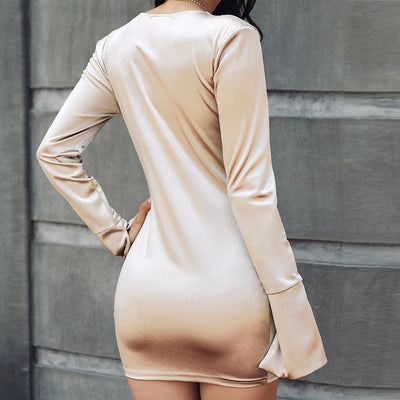 Sexy Satin Deep V-neck Ruched Club Bodycon Elegant Long Sleeve Dresses
