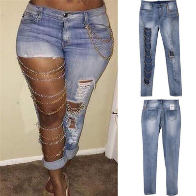 Destroyed Holes Chain Patchwork Skinny Bodycon Ripped Boyfriend Pants Denim Vintage Straight Jeans