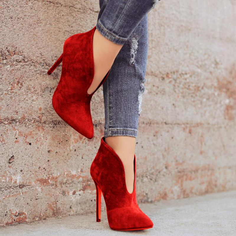 Sexy Faux Suede V-Shape Cut Ankle