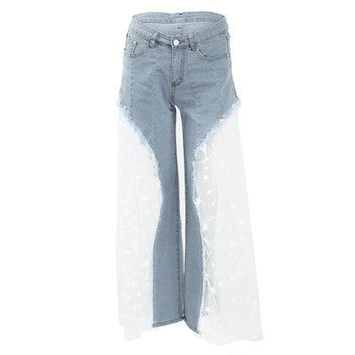 Sexy Wide Leg Sheer Mesh Star Print Splice Denim High Waist Casual Loose Pants Jeans