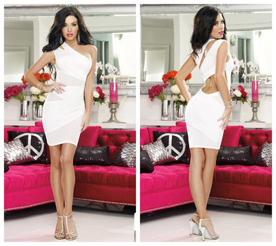 Sexy Women'sOne Shoulder Sleeveless Cut Out Mesh Bodycon Party Night Club Dresses