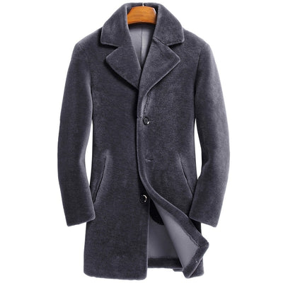 Sheep Shearing Mid Long Outerwear Thick Slim Double Side Real Wool Warm Leather Jackets Plus Size M-4XL