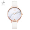 Shengke Top Brand Fashion Leather Quartz Watch Thin Casual Strap Watch