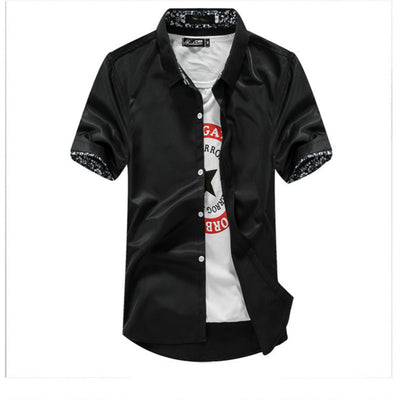 Sleeve Causal Summer Fashion Brand Hip Hop Solid Color Floral Neckline Shirt