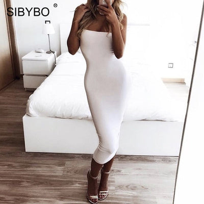 Sibybo Off Shoulder Strapless Sleeveless Straight Long Backless Casual Party Dress