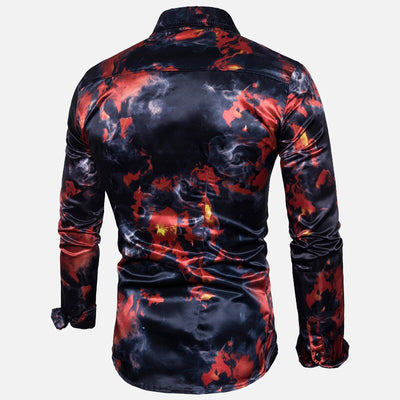 Silk Satin Floral Print Top Turn Down Collar Long Sleeve Slim Fit Shirts