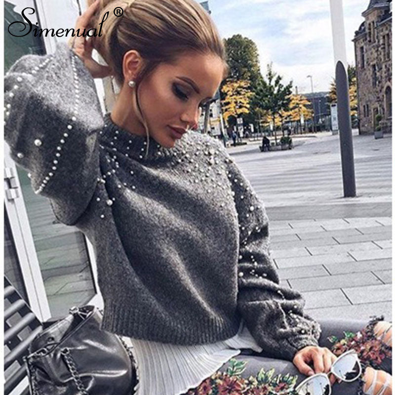 4f1e0e603e1 Autumn winter bead lantern sleeve knitted pullover Sweater grey slim jumpers