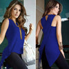 Summer Casual Slim Slit Irregular Solid 3XL Chiffon O Neck Ladies Blouses