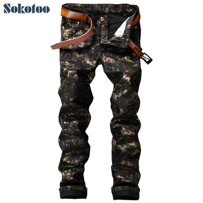 Sokotoo pattern print Slim skinny painted coated black jeans long trousers