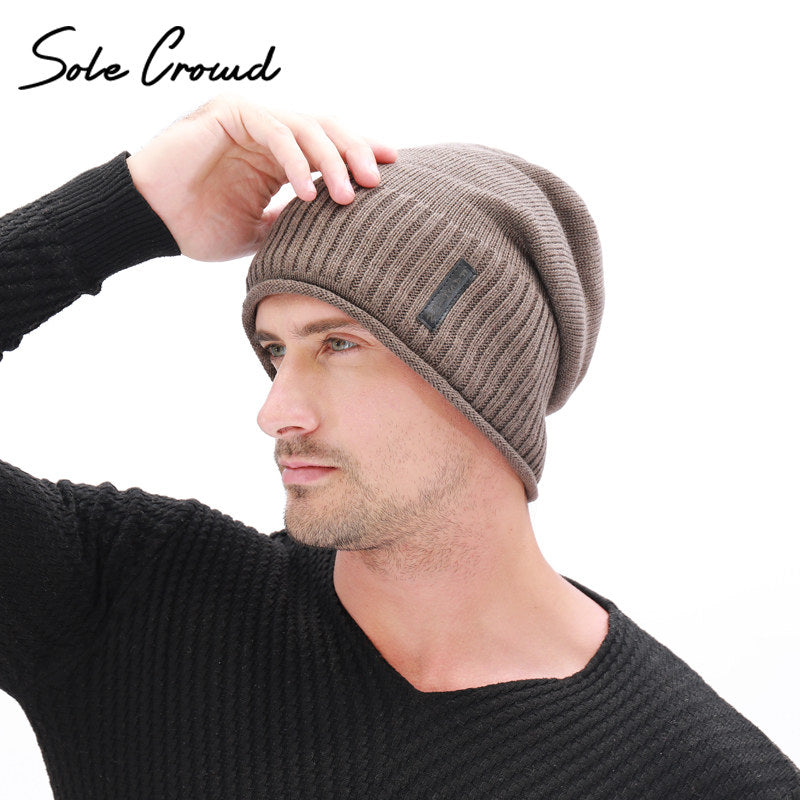 Sole Crowd Crimping Knitted Skullies Beanies Winter Warm Caps Plus Velvet  Thick Hats c5c9e9e5aa5