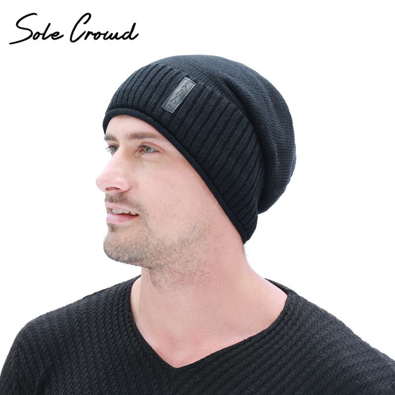 fa06f9d6405 Sole Crowd Crimping Knitted Skullies Beanies Winter Warm Caps Plus Velvet  Thick Hats