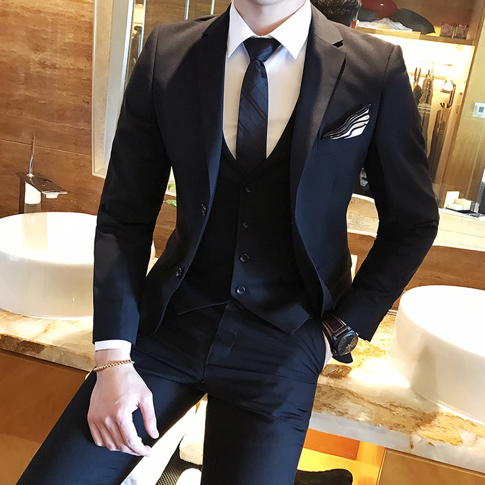 2870901d99aa Solid Color slim fit 3 piece suits Casual blazer Dinner Suits. OSCN7 Double  Breasted Suit Men ...