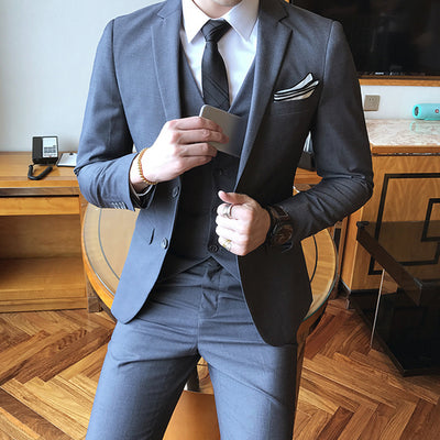 Solid Color slim fit 3 piece suits Casual blazer Dinner Suits