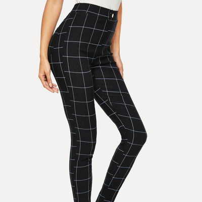 SparkDora Europe & United States Check Capris Women's Printed Leggings