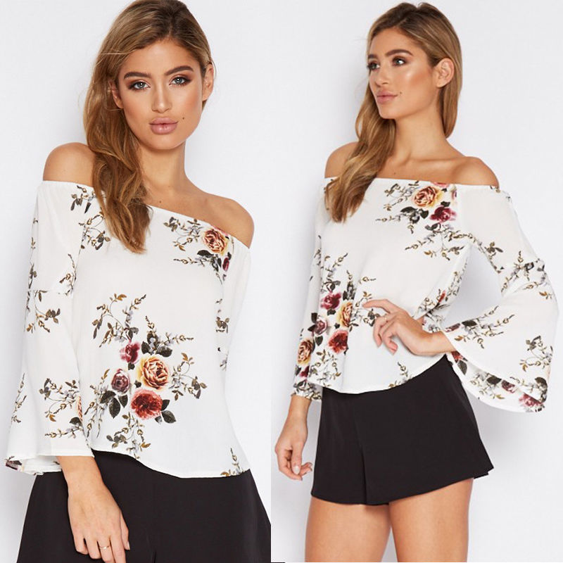 SEXY OFF SHOULDER TOPS LONG SLEEVE BLOUSE CASUAL FLORAL LOOSE TOPS
