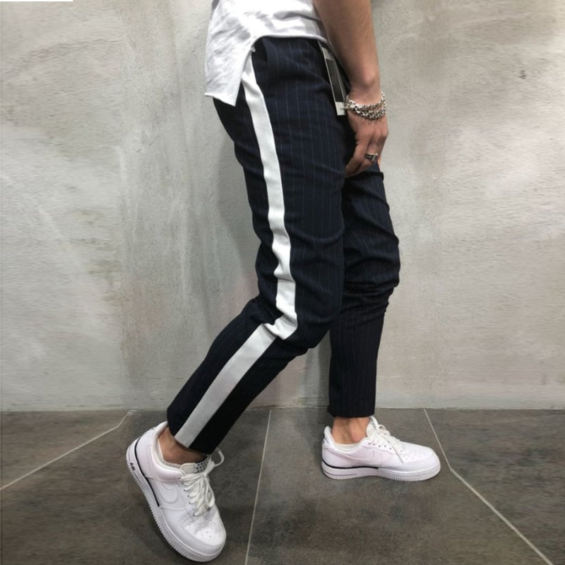 Spring and Autumn New Mens Hip Hop Color Straight Straight Leg Casual Joggers Pants,White,XXL