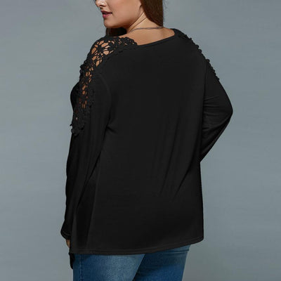 Spring Autumn Lace Long Sleeve V-Neck Solid Color w/Pocket Clothing Hollow out Blouse
