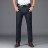 Cotton Thin Classic Business Straight Long Jeans Stretch Black Blue Denim Jeans