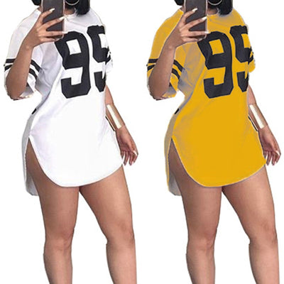 Street Style Number Printed Short Sleeved Mini Casual Plus Size Pullover Dress
