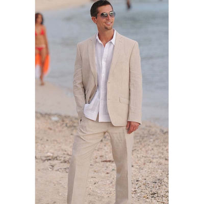 Summer Champagne Linen 2 Buttons Blazer Design men suit Custom Made