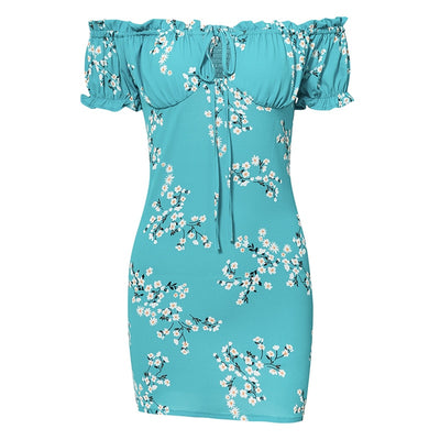 Mini Sexy Bodycon Frill Off Shoulder Tie Floral Print Sundress Short Sleeve Dresses